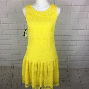 NEW Sandra Darren Bright Yellow Crochet Mini Dress